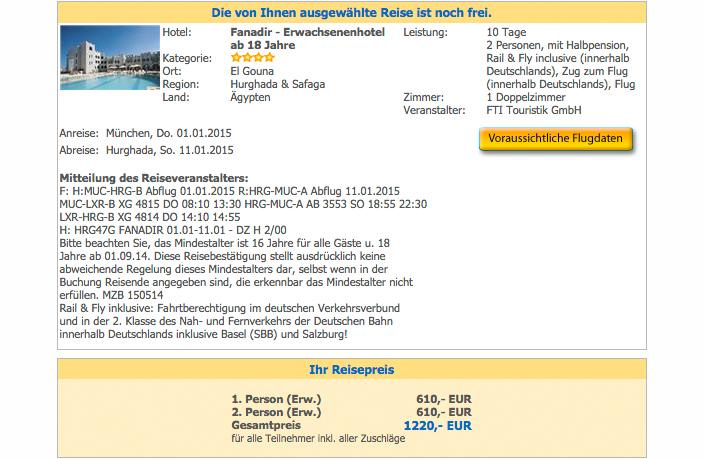 Hotel Fanadir El Gouna ab München